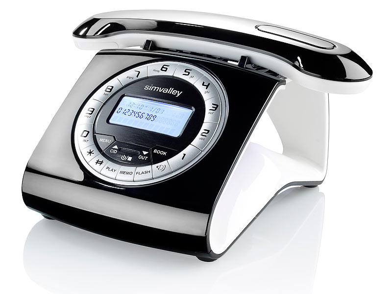 simvalley communications Retro-DECT-Schnurlostelefon mit Anrufbeantworter schwarz (refurbished)
