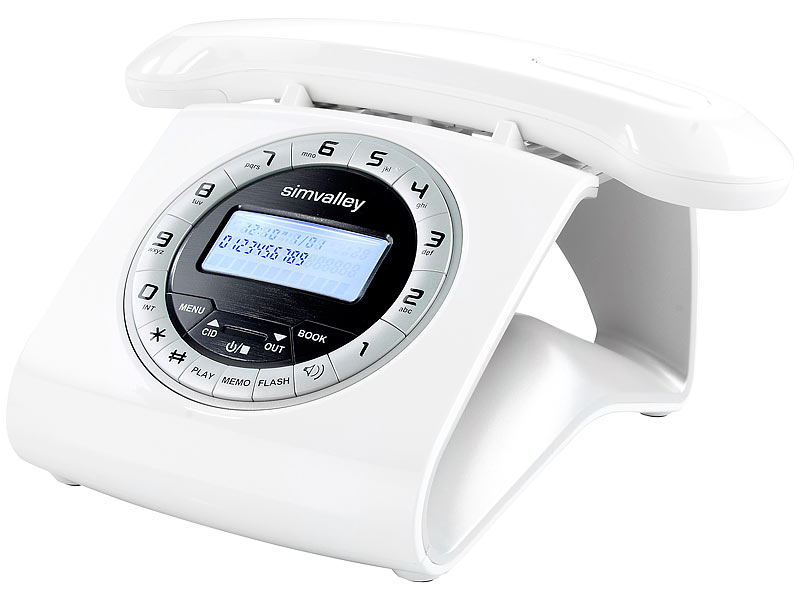 simvalley communications Retro-DECT-Schnurlostelefon mit Anrufbeantworter, weiß (refurbished)