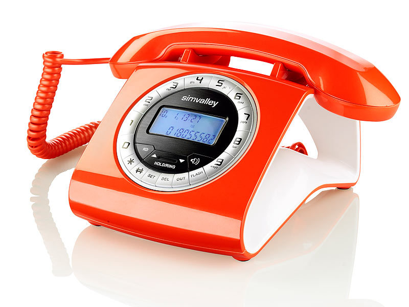 simvalley communications Schnurgebundenes Retro-Festnetztelefon, orange