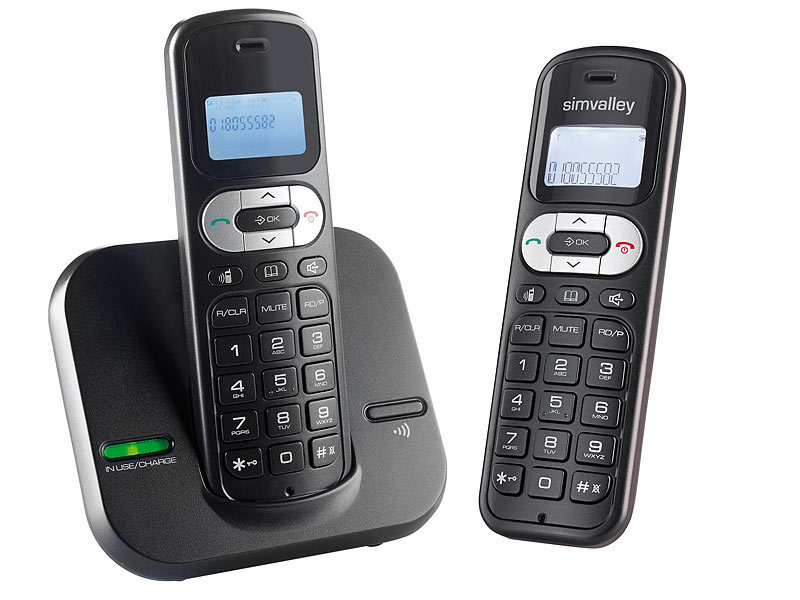 simvalley communications DECT-Telefonanlage FNT-1050.easy mit 2 schnurlosen Telefonen