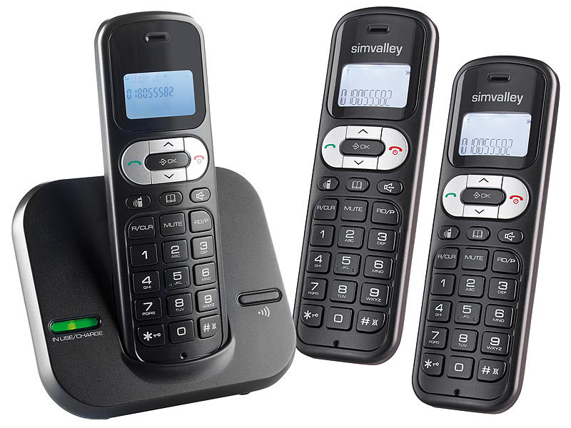 simvalley communications DECT-Telefonanlage FNT-1050.easy mit 3 schnurlosen Telefonen