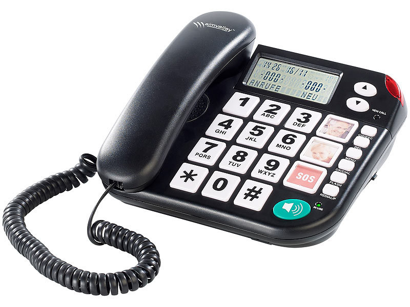 simvalley communications notruf senioren telefon xlf. Black Bedroom Furniture Sets. Home Design Ideas