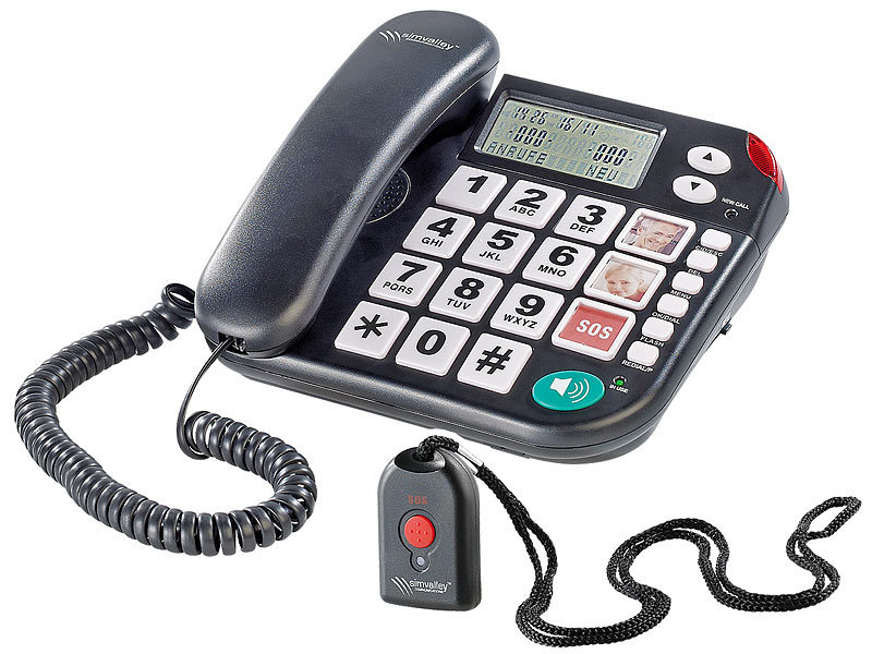 simvalley communications Notruf-Senioren-Telefon XLF-80Plus mit Garantruf, schwarz