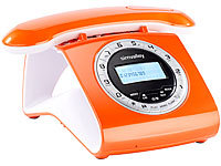 simvalley communications Retro-DECT-Schnurlostelefon mit Anrufbeantworter, orange; GSM-Tischtelefone GSM-Tischtelefone