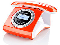 simvalley communications Retro-DECT-Schnurlostelefon mit Anrufbeantworter orange (refurbished)