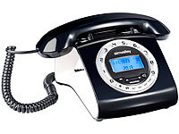 simvalley communications Schnurgebundenes Retro-Festnetztelefon, schwarz (refurbished)